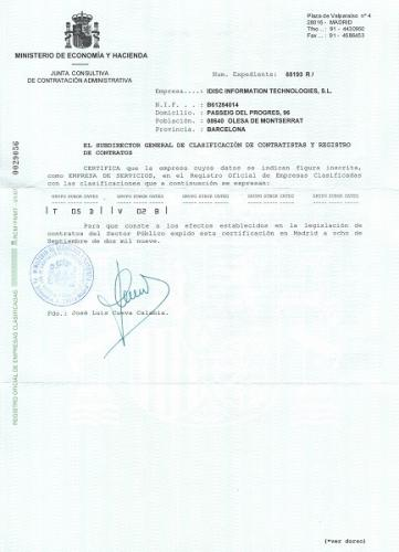 Certificate - Junta Consultiva de Contratación Administrativa (Spain's Advisory Council on Public Procurement)
